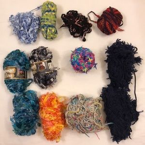 🧶Lot of 12 Skeins Novelty Boa Ladder Ribbon Yarn